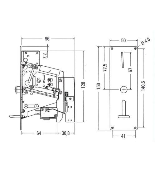mechanische muntproever technische tekening